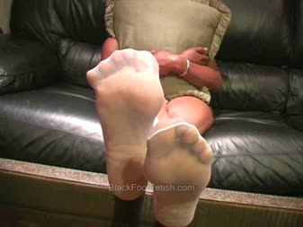 Have faced White thigh high footjob